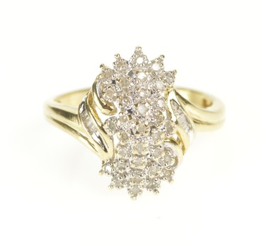 10K Diamond Cluster Encrusted Fancy Statement Yellow Gold Ring, Size 6.75