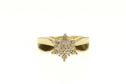 10K Diamond Cluster Flower Snowflake Statement Yellow Gold Ring, Size 4.75