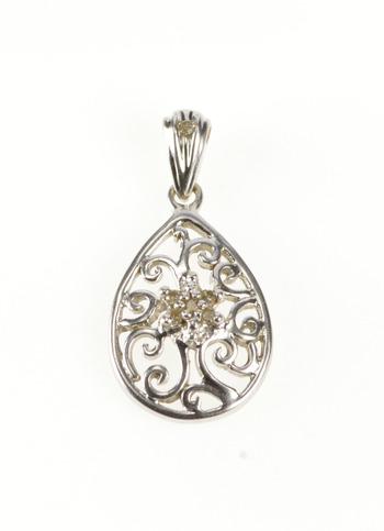 10K Diamond Cluster Pear Teardrop Swirl Filigree White Gold Pendant