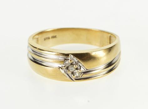 10K Diamond Diagonal Inset Grooved Men's Wedding Yellow Gold Ring, Size 10