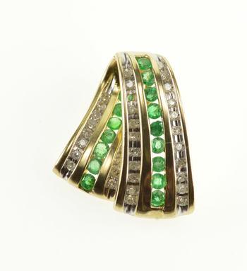 10K Diamond Emerald Channel Inset Encrusted Yellow Gold Pendant