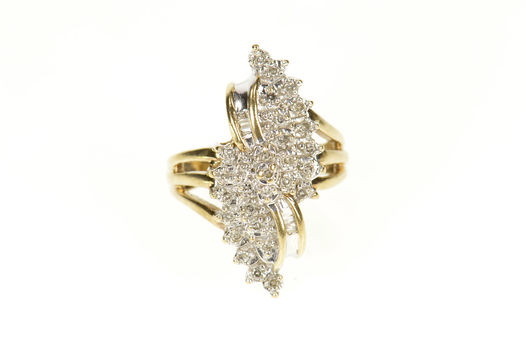 10K Diamond Encrusted Freeform Statement Cluster Yellow Gold Ring, Size 4.75