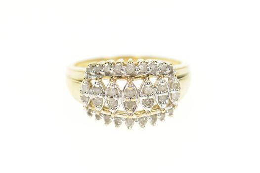 10K Diamond Encrusted Graduated Statement Yellow Gold Ring, Size 9.5