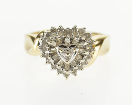 10K Diamond Encrusted Heart Cluster Promise Yellow Gold Ring, Size 7
