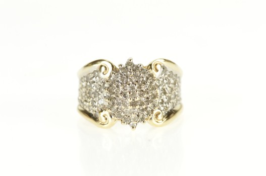 10K Diamond Encrusted Marquise Cluster Statement Yellow Gold Ring, Size 6.75