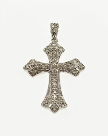 10K Diamond Encrusted Ornate Cross Christian Symbol White Gold Pendant