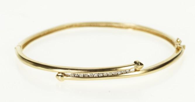 "10K Diamond Inset Bypass Bangle Yellow Gold Bracelet 6.75"""