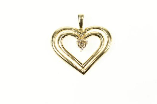 10K Diamond Inset Classic Heart Love Symbol Yellow Gold Pendant