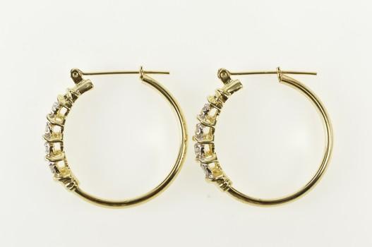 10K Diamond Inset Classic Statement Hoop Yellow Gold Earrings