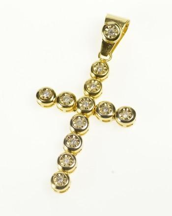 10K Diamond Inset Cross Christian Faith Symbol Yellow Gold Pendant