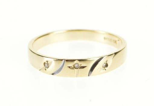 10K Diamond Inset Cross Design Wedding Band Yellow Gold Ring, Size 5.75