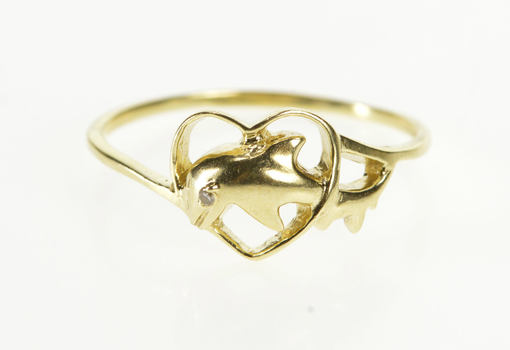10K Diamond Inset Dolphin Heart Design Yellow Gold Ring, Size 7