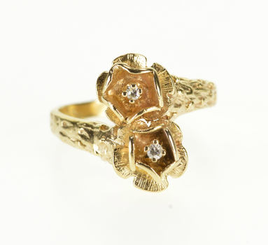 10K Diamond Inset Flower Floral Bypass Freeform Yellow Gold Ring, Size 5.75