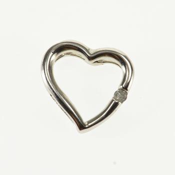 10K Diamond Inset Flush Illusion Heart White Gold Pendant