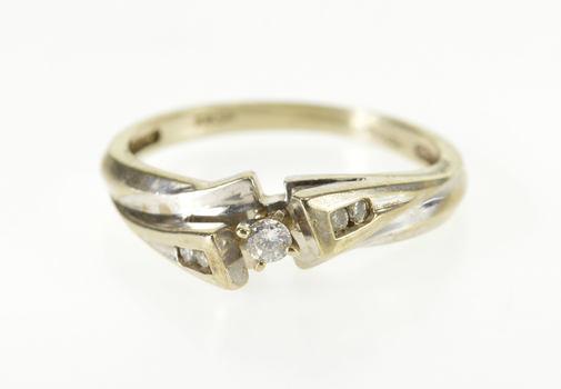 10K Diamond Inset Freeform Wavy Engagement White Gold Ring, Size 4.5