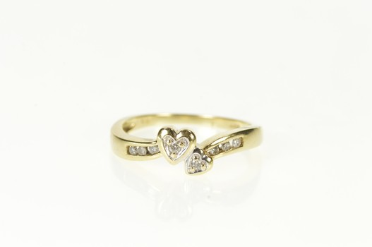 10K Diamond Inset Heart Bypass Love Promise Yellow Gold Ring, Size 7.25