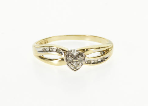 10K Diamond Inset Heart Cluster Wavy Promise Yellow Gold Ring, Size 7.25