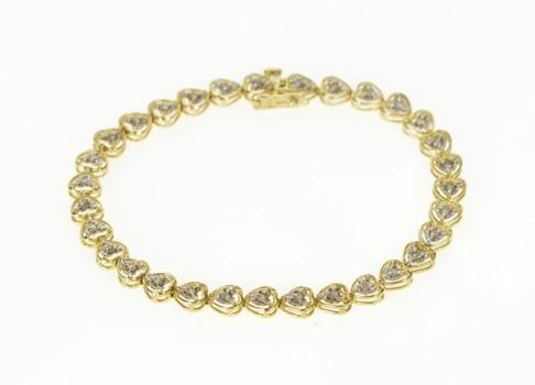"10K Diamond Inset Heart Sweetheart Link Tennis Yellow Gold Bracelet 7.25"""