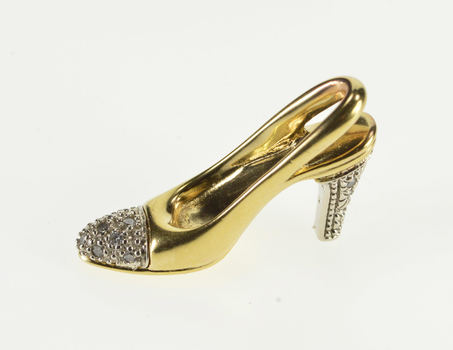 10K Diamond Inset High Heel Pump Shoe Yellow Gold Pendant