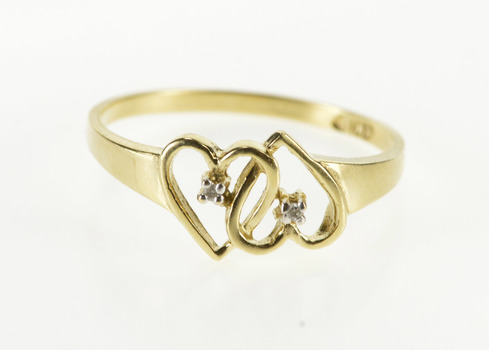 10K Diamond Inset Interlocking Heart Design Yellow Gold Ring, Size 7