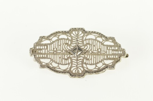 10K Diamond Inset Ornate Art Deco Filigree White Gold Pin/Brooch