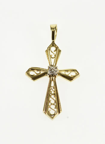 10K Diamond Inset Scroll Design Cross Christian Symbol Yellow Gold Pendant