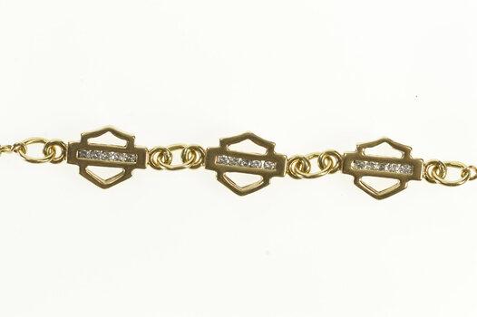 "10K Diamond Inset Shield Link Statement Chain Yellow Gold Bracelet 7"""