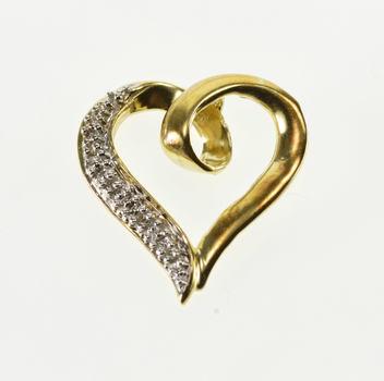 10K Diamond Inset Textured Accent Wavy Heart Yellow Gold Pendant