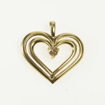 10K Diamond Inset Tiered Design Heart Love Symbol Yellow Gold Pendant