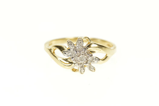 10K Diamond Inset Two Tone Flower Cluster Bypass Yellow Gold Ring, Size 6.75