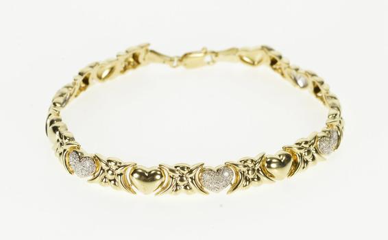"10K Diamond Inset Two Tone Hugs & Kisses Link Yellow Gold Bracelet 7.25"""