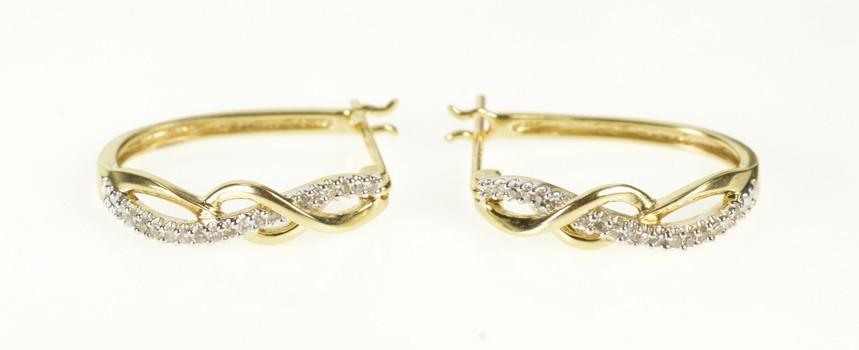 10K Diamond Inset Wavy Criss Cross Hoop Yellow Gold Earrings
