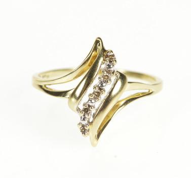 10K Diamond Inset Wavy Design Curvy Bypass Yellow Gold Ring, Size 9.25