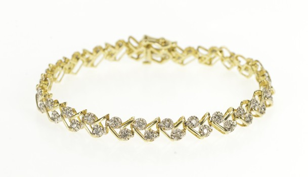 "10K Diamond Inset Woven Braid Link Tennis Yellow Gold Bracelet 7"""