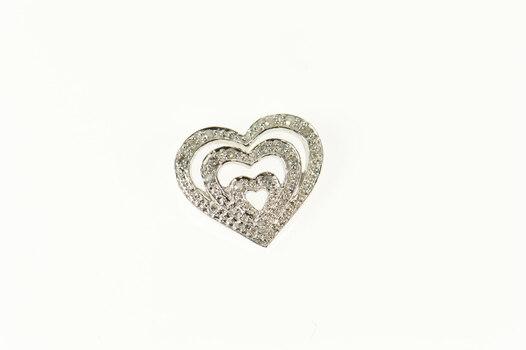10K Diamond Layered Look Heart Love Symbol White Gold Pendant