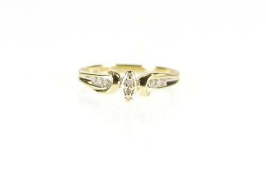 10K Diamond Marquise Cluster Promise Anniversary Yellow Gold Ring, Size 7.75