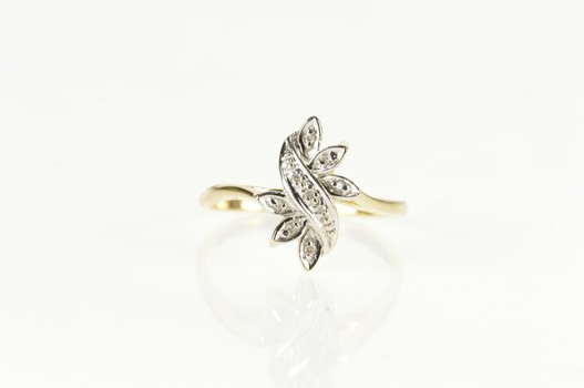 10K Diamond Petal Floral Cluster Wavy Bypass Yellow Gold Ring, Size 7.5
