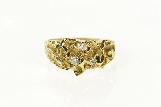 10K Diamond Raw Textured Nugget Statement Yellow Gold Ring, Size 10