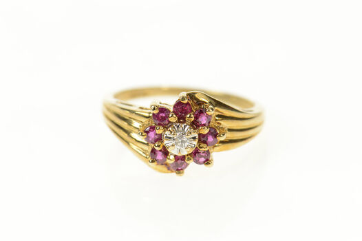 10K Diamond Ruby Halo Flower Cluster Statement Yellow Gold Ring, Size 6.5