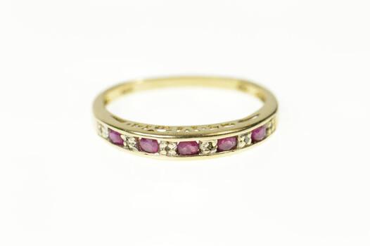 10K Diamond Ruby I Love You Wedding Band Yellow Gold Ring, Size 7