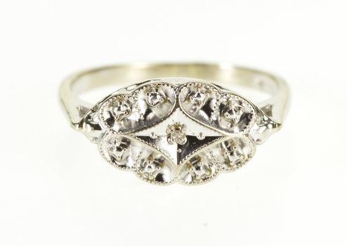 10K Diamond Scalloped Milgrain Design Statement White Gold Ring, Size 6.75