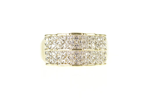 10K Diamond Squared Cluster Statement Band Yellow Gold Ring, Size 10.75