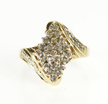 10K Diamond Squared Marquise Encrusted Cluster Yellow Gold Ring, Size 7.25