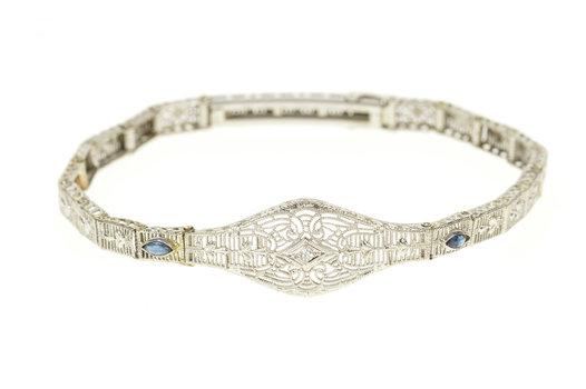 """10K Diamond Syn. Sapphire Ornate Art Deco White Gold Bracelet 7.75"""""""