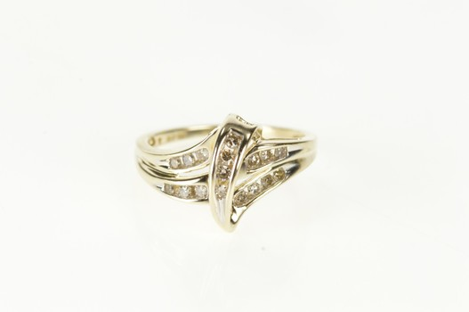 10K Diamond Wavy Channel Freeform Statement Yellow Gold Ring, Size 6.75