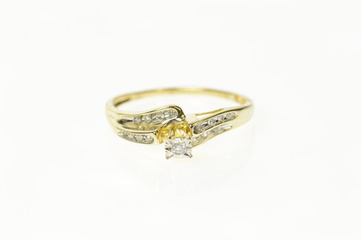 10K Diamond Wavy Classic Bypass Promise Yellow Gold Ring, Size 8.75