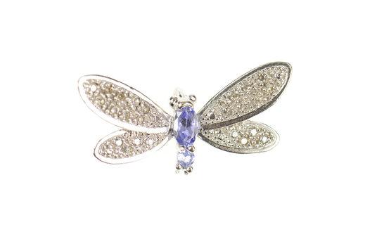 10K Dragonfly Pave Diamond Encrusted Tanzanite White Gold Pendant