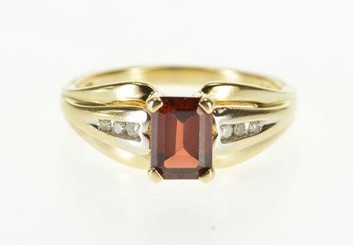 10K Emerald Cut Garnet Diamond Channel Inset Yellow Gold Ring, Size 6.5