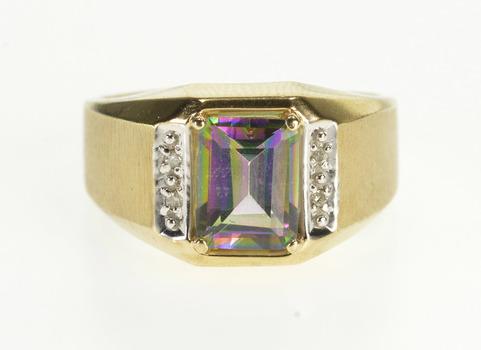 10K Emerald Cut Mystic Topaz Diamond Accented Yellow Gold Ring, Size 9.5