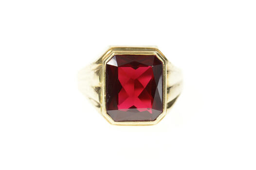 10K Emerald Cut Syn. Ruby Men's Retro Statement Yellow Gold Ring, Size 11